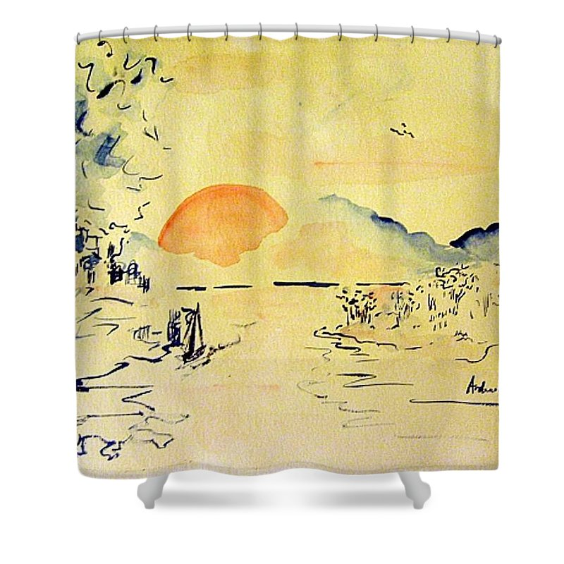 Asia Shower Curtain featuring the painting Asian Sunrise by Andrew Gillette