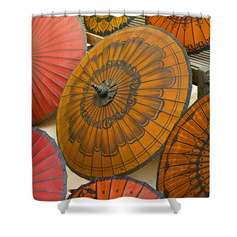 Oriental Shower Curtain featuring the photograph Asian Umbrellas by Michele Burgess