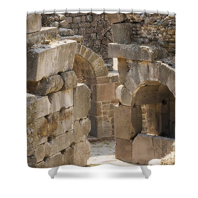 Bergama Pergamon Turkey Asklepion Ancient Asklepios Temple Ruins Temples Ruin Stone Stones Architecture Structures Structures Landmark Landmarks Place Of Worship Places Of Worship Shower Curtain featuring the photograph Asklepios Temple Ruins View 3 by Bob Phillips