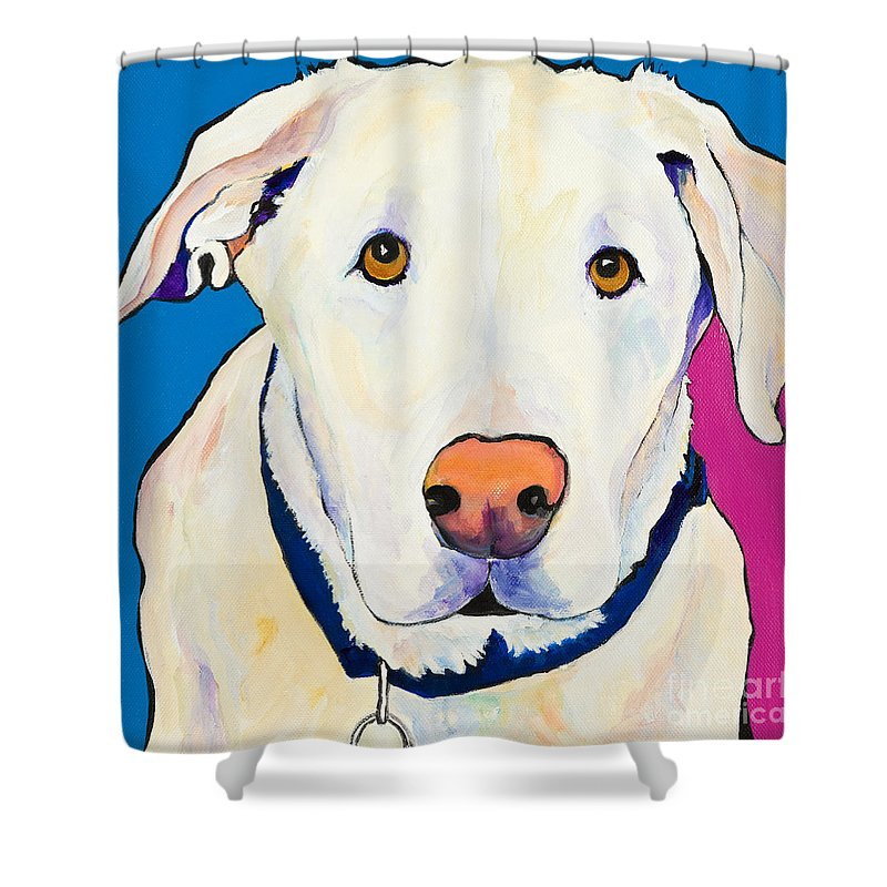 White Lab Yellow Lab Animal Paintings Golden Eyes Square Format Dogs Pets Rescued Shower Curtain featuring the painting Aslinn by Pat Saunders-White