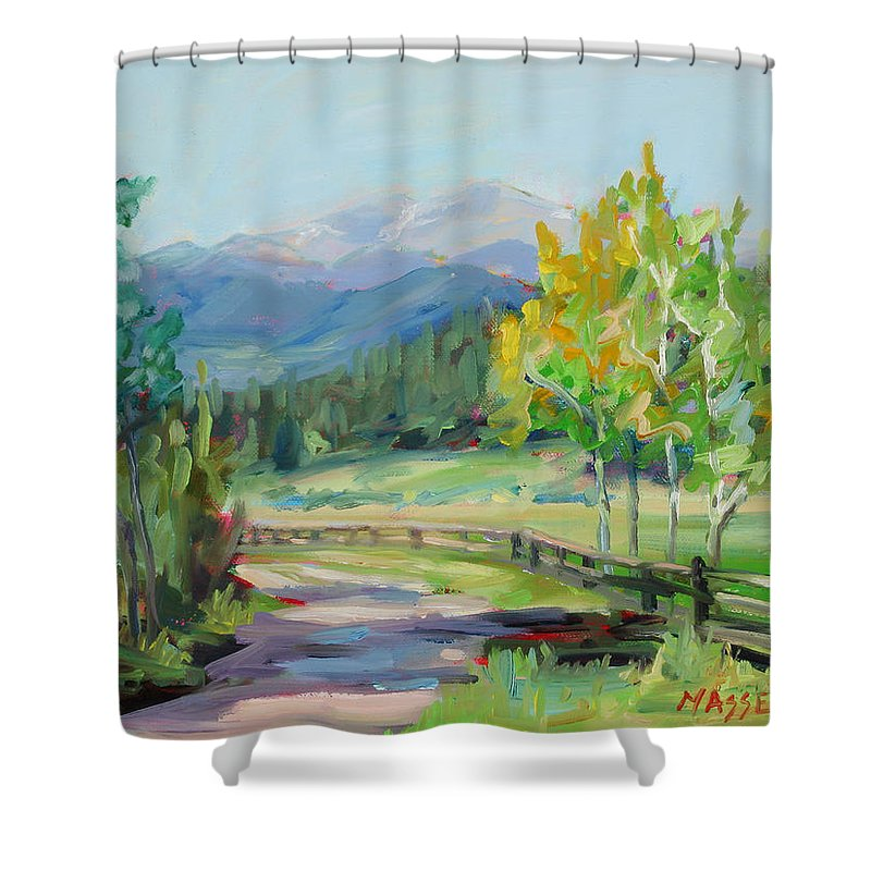 Rocky Mountains Shower Curtain featuring the painting Aspen Lane by Marie Massey