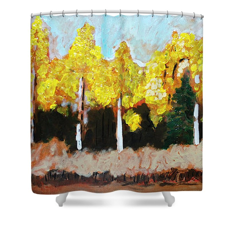 Fall Shower Curtain featuring the painting Aspens by Kurt Hausmann