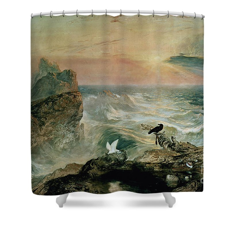 Assuaging Of The Waters By John Martin (1789-1854) Shower Curtain featuring the painting Assuaging Of The Waters by John Martin