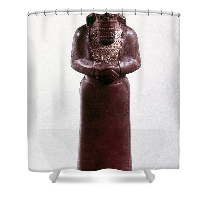 9th Century Bc Shower Curtain featuring the photograph Assyrian Statue by Granger