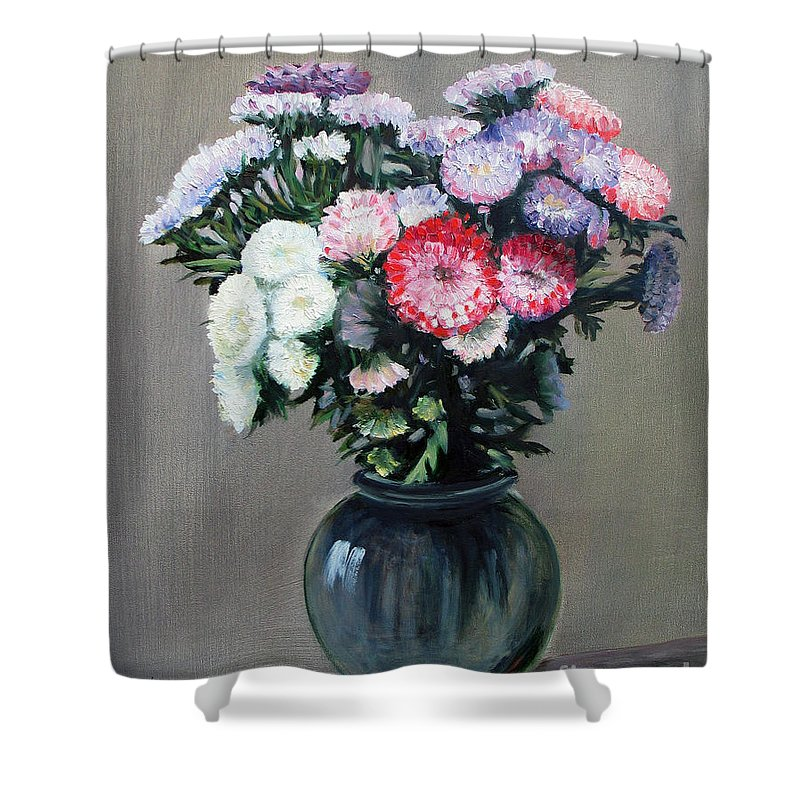 Flowers Shower Curtain featuring the painting Asters by Paul Walsh