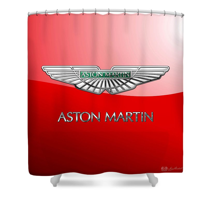 Wheels Of Fortune� Collection By Serge Averbukh Shower Curtain featuring the photograph Aston Martin - 3 D Badge On Red by Serge Averbukh