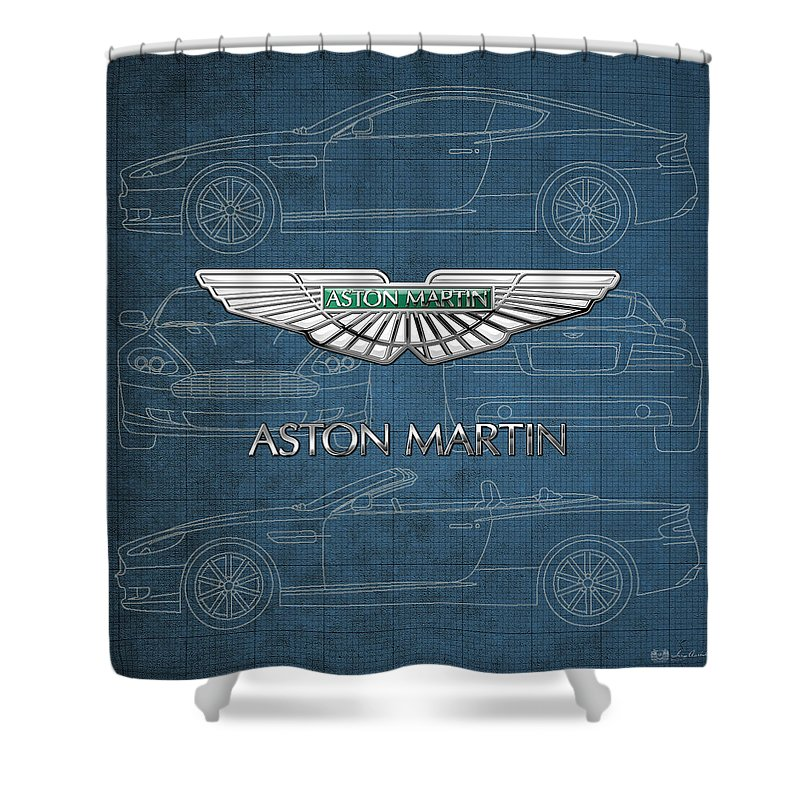 Wheels Of Fortune By Serge Averbukh Shower Curtain featuring the photograph Aston Martin 3 D Badge over Aston Martin D B 9 Blueprint by Serge Averbukh
