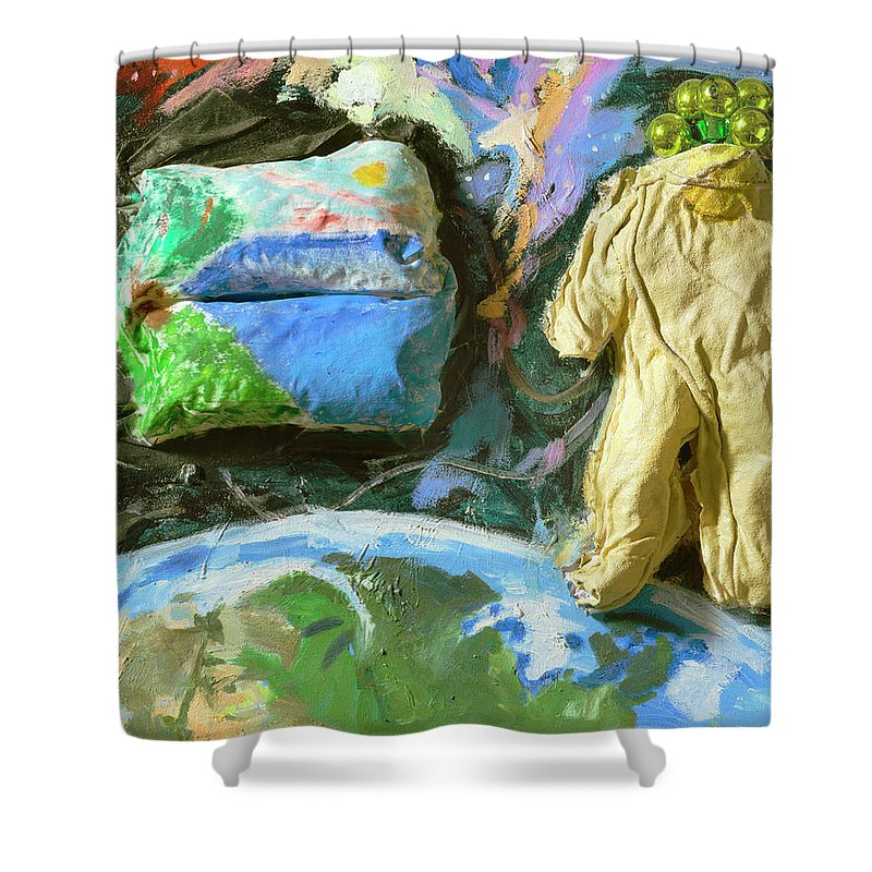 Astronaut Shower Curtain featuring the painting Astronaut by Regina Gately