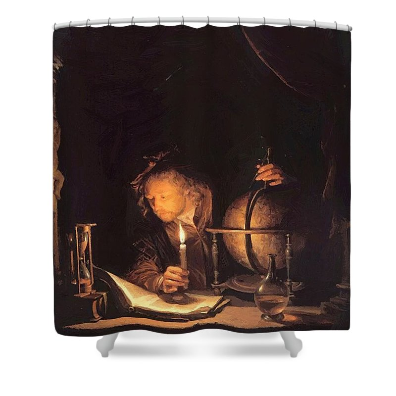 Astronomer Shower Curtain featuring the painting Astronomer By Candlelight by Dou Gerrit