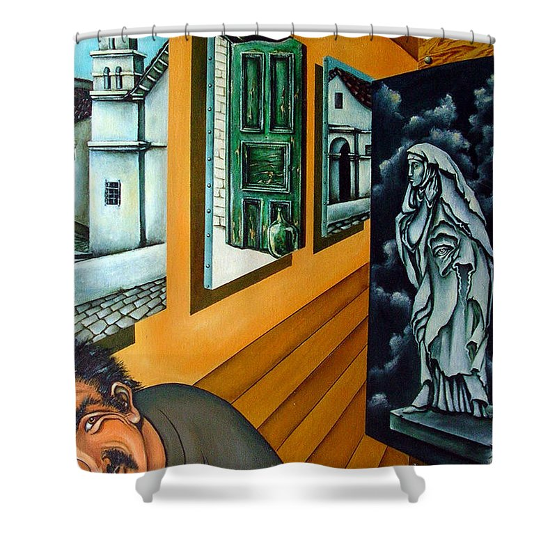 Surreal Shower Curtain featuring the painting Asylum by Valerie Vescovi