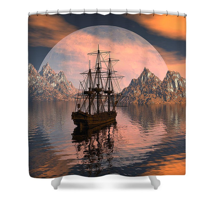 Bryce 3d Digital Fantasy Scifi Windjammer Sailing Shower Curtain featuring the digital art At Anchor by Claude McCoy