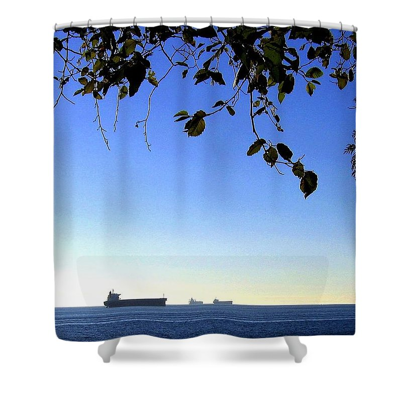 Freighters Shower Curtain featuring the photograph At Anchor by Will Borden