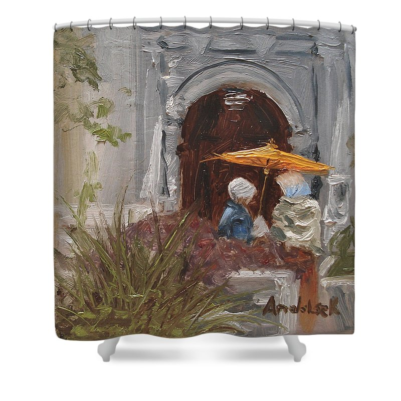 Parks Shower Curtain featuring the painting At Balboa Park by Barbara Andolsek