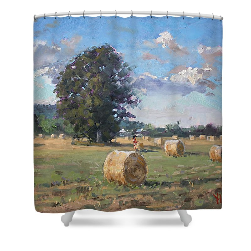 Hay Stoks Shower Curtain featuring the painting At Cathy's Farm Georgetown by Ylli Haruni