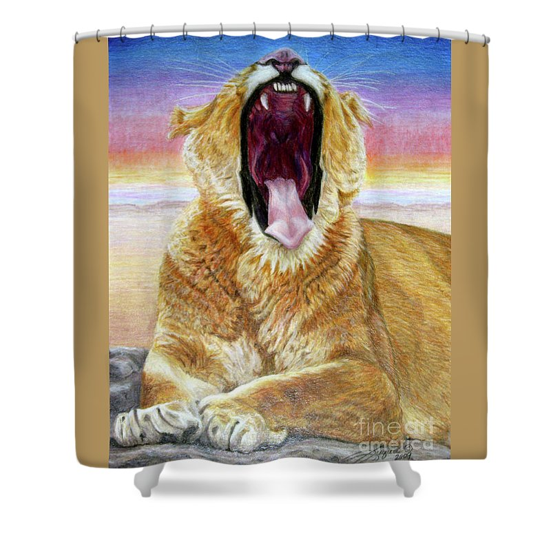 Wildlife Shower Curtain featuring the drawing At Days End by Beverly Fuqua