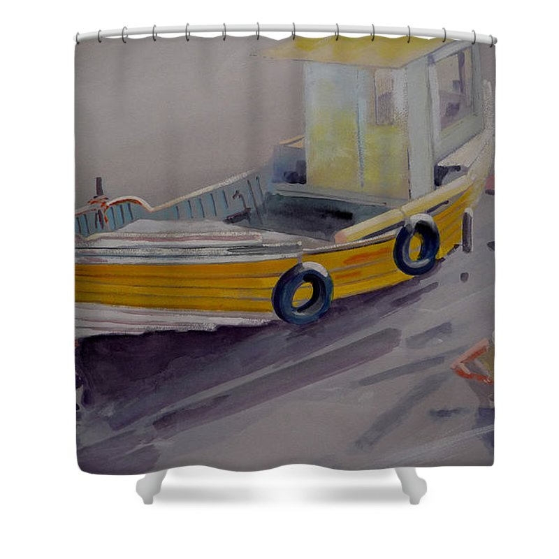 Seascape Shower Curtain featuring the painting At Low Tide by Charles Stuart