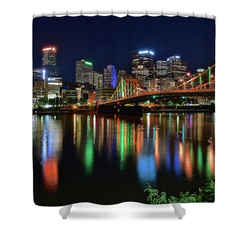 Pittsburgh Shower Curtain featuring the photograph At Rivers Edge In Pittsburgh by Frozen in Time Fine Art Photography