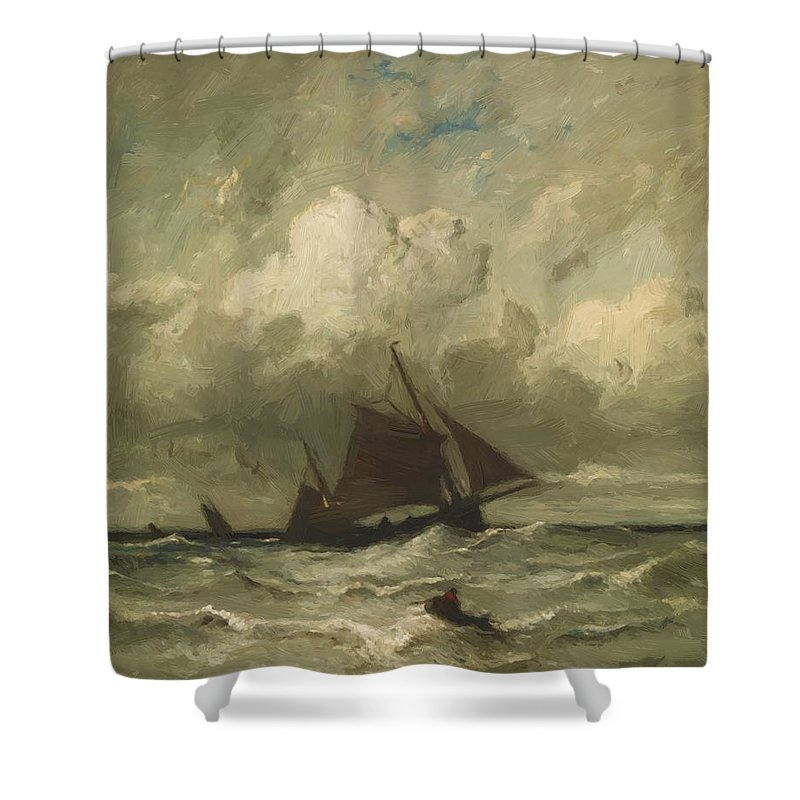 At Shower Curtain featuring the painting At Sea 1870 by Dupre Jules