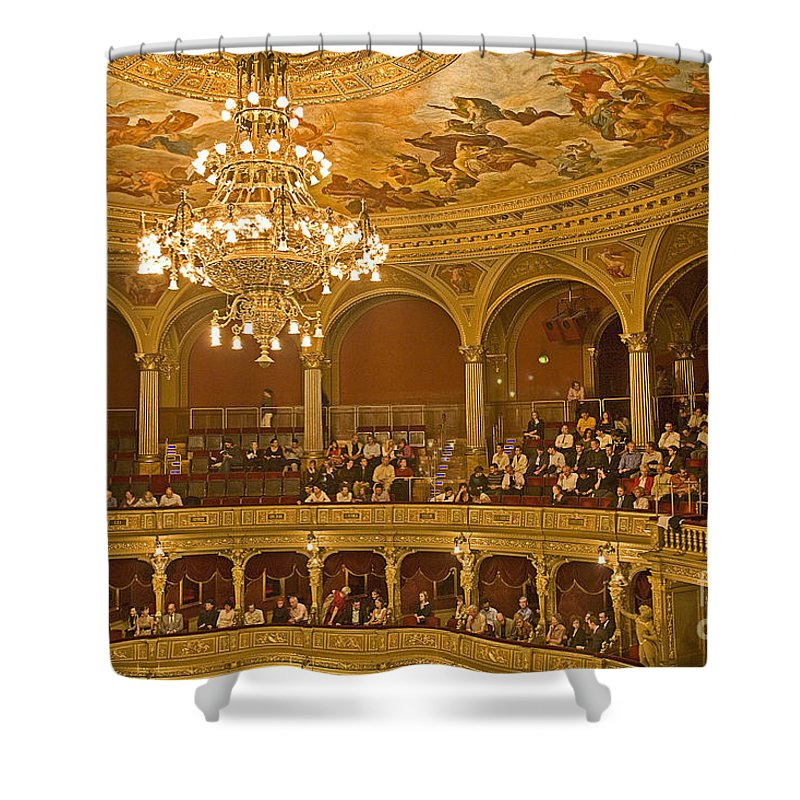 Budapest Opera Shower Curtain featuring the photograph At The Budapest Opera by Madeline Ellis