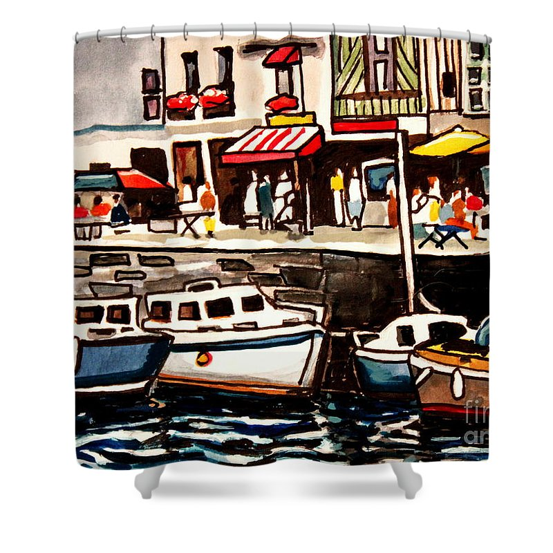 Cafe Shower Curtain featuring the painting At The Cafe by Elizabeth Robinette Tyndall