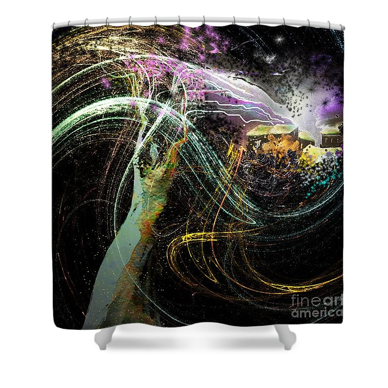 Fantasy Shower Curtain featuring the painting At The End Of The Cosmos by Miki De Goodaboom