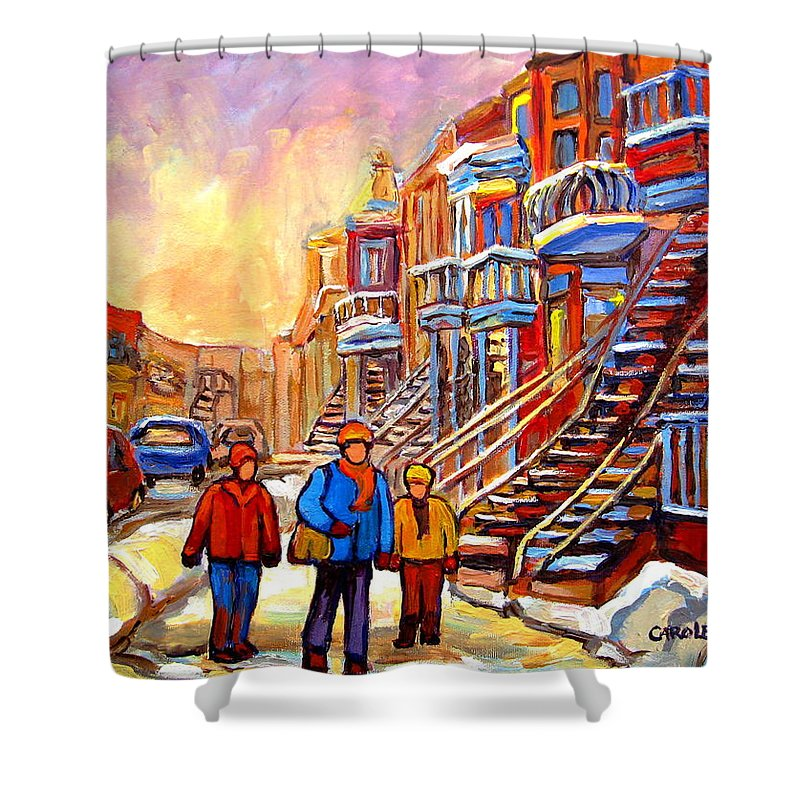 At The End Of The Day Shower Curtain featuring the painting At The End Of The Day by Carole Spandau