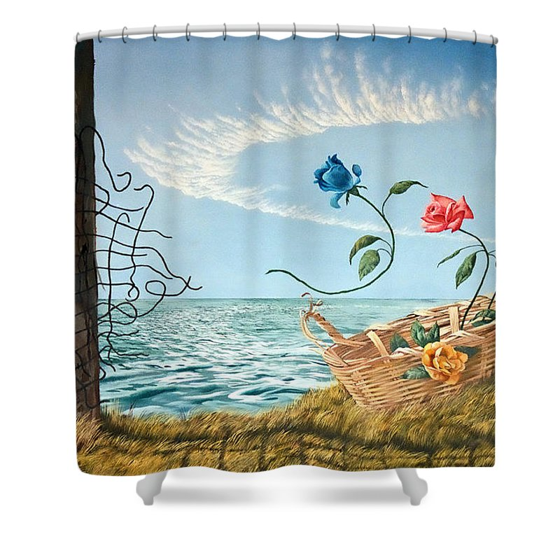 Flower Shower Curtain featuring the painting At The End Of The Fence I Am Free by Christopher Shellhammer