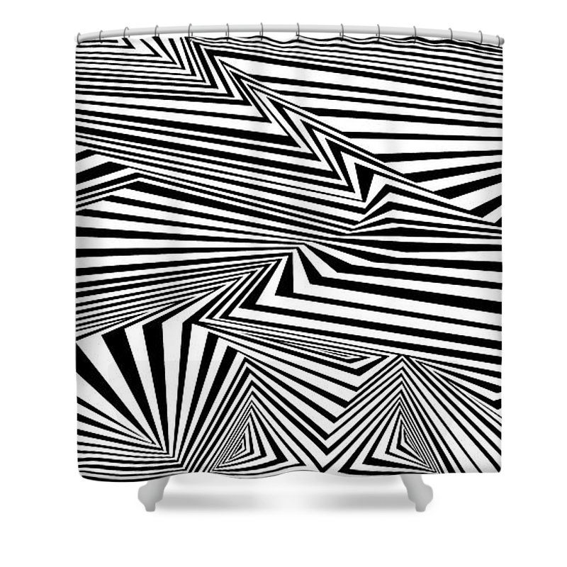 Dynamic Black And White Shower Curtain featuring the painting At The End Of The Knot by Douglas Christian Larsen