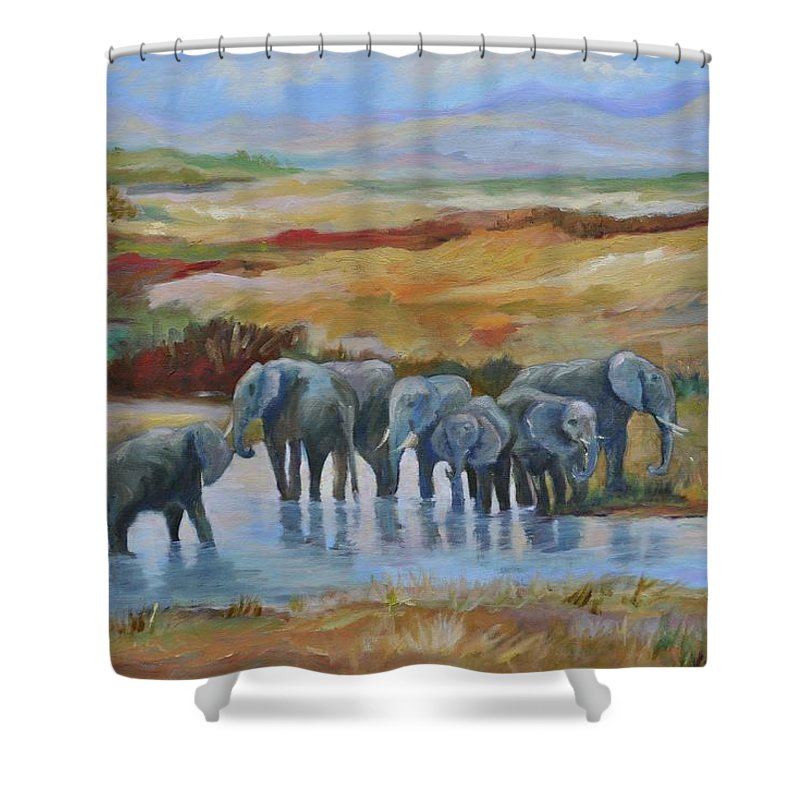 Elephants At Oasis Shower Curtain featuring the painting At the Oasis by Ginger Concepcion