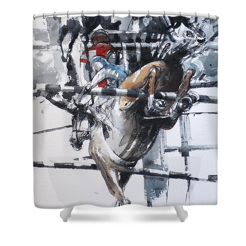 Horses Shower Curtain featuring the painting At The Races 5 by Tony Belobrajdic