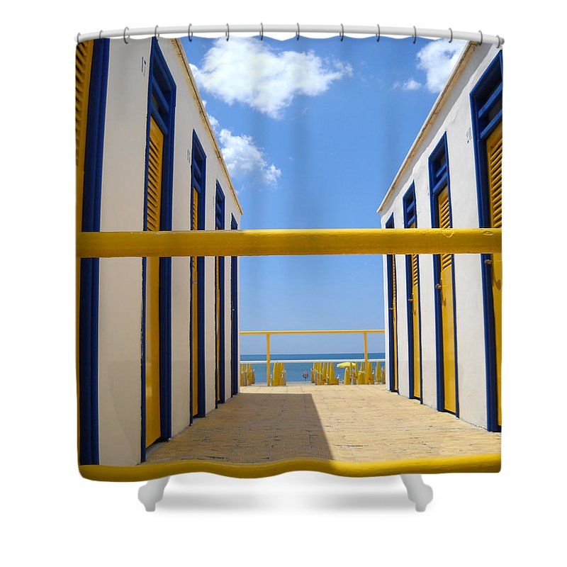 Blue Shower Curtain featuring the photograph At The Seashore 1 by Tom Reynen