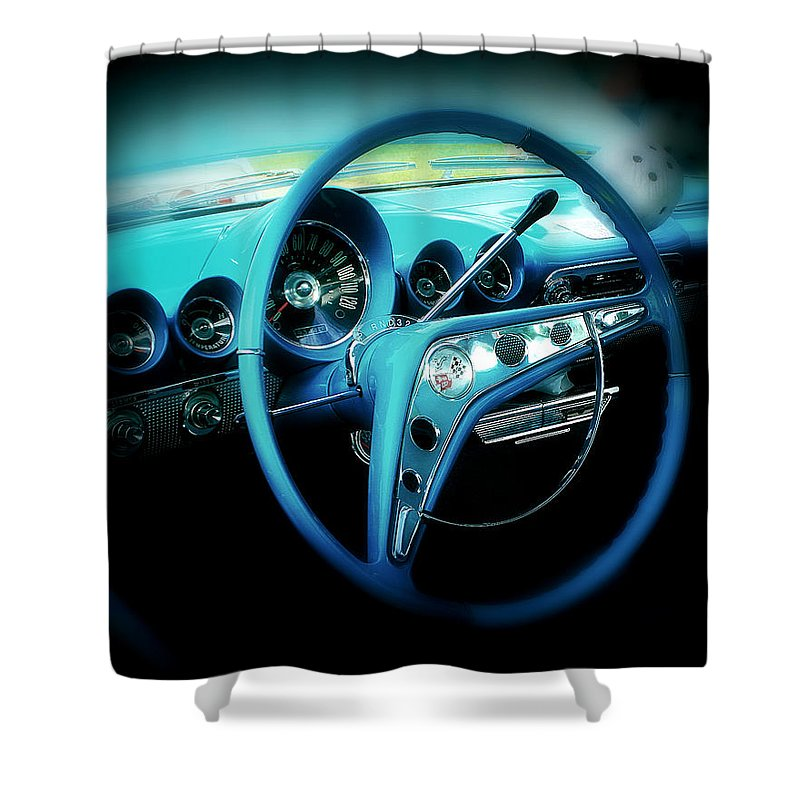 Car Shower Curtain featuring the photograph At The Wheel by Perry Webster