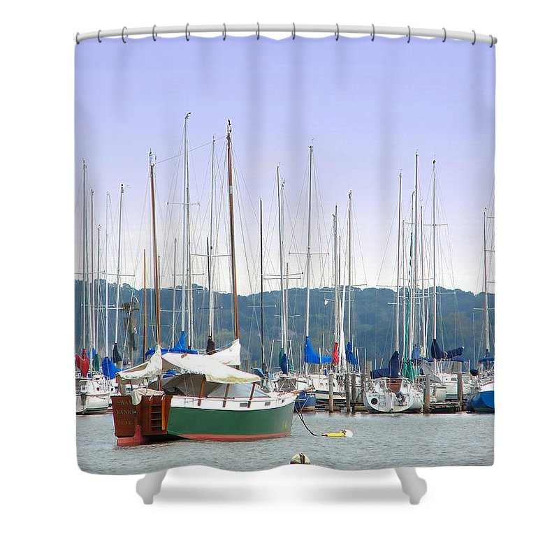 Seascape Shower Curtain featuring the photograph At The Yacht Club by Todd Blanchard