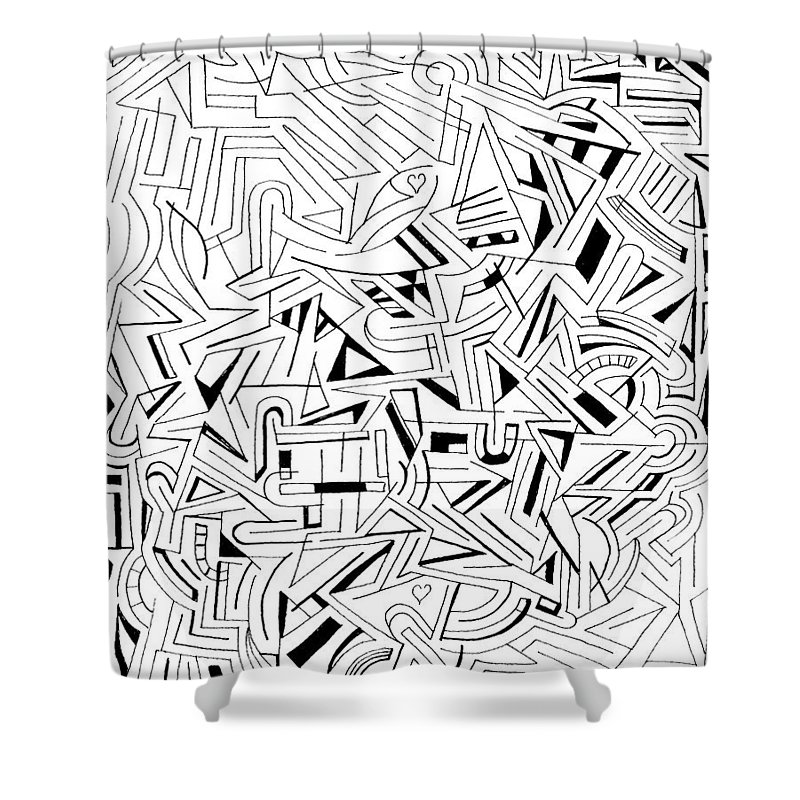 Abstract Shower Curtain featuring the drawing Atattvaarthavat H by Steven Natanson