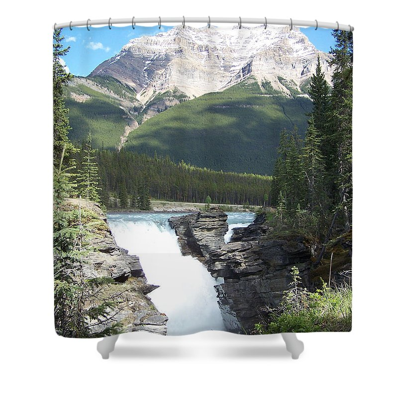 Athabasca Falls Shower Curtain featuring the photograph Athabasca Falls by Chester Taplette