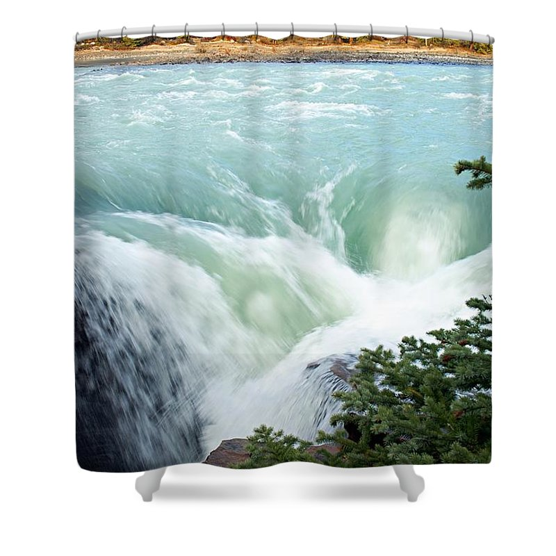 Athabasca Falls Shower Curtain featuring the photograph Athabasca Falls by Larry Ricker