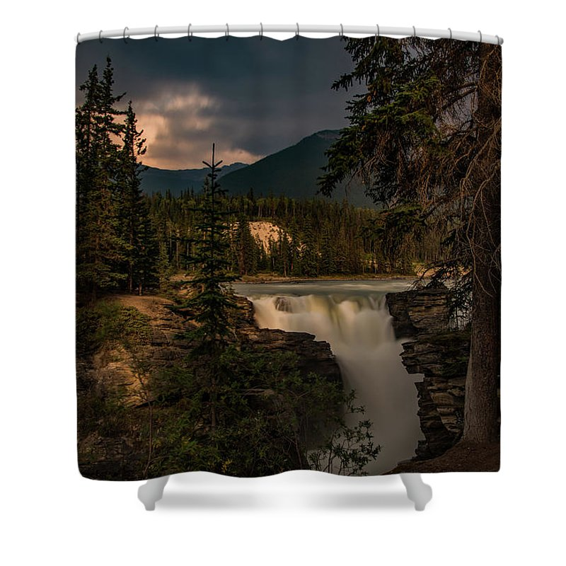 Canadian Rockies Shower Curtain featuring the photograph Athabasca Falls by Todd Carriveau