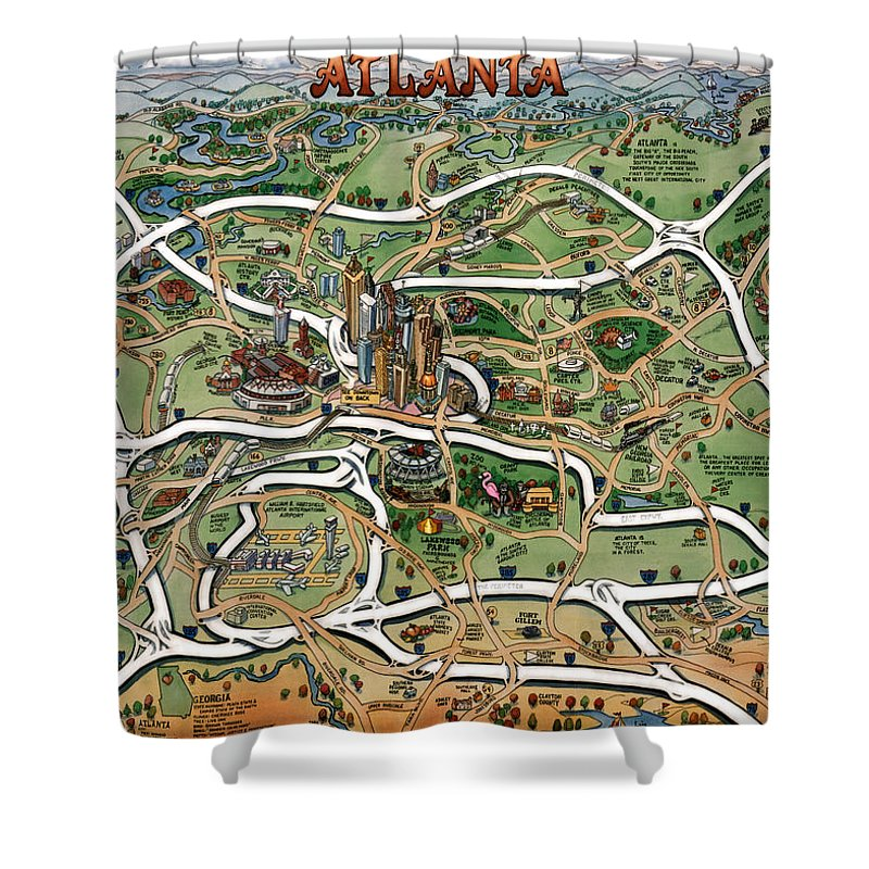 Atlanta Shower Curtain featuring the painting Atlanta Cartoon Map by Kevin Middleton