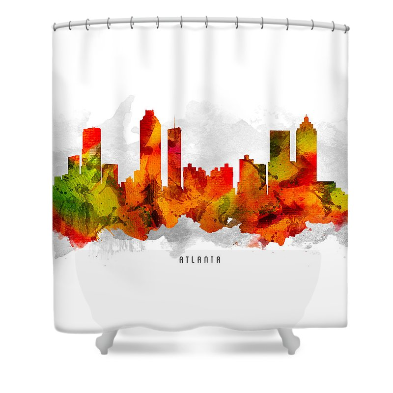 Atlanta Shower Curtain featuring the painting Atlanta Georgia Cityscape 15 by Aged Pixel