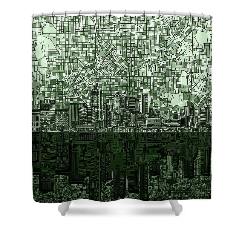 Atlanta Shower Curtain Featuring The Digital Art Skyline Abstract Hunter Green By Bekim