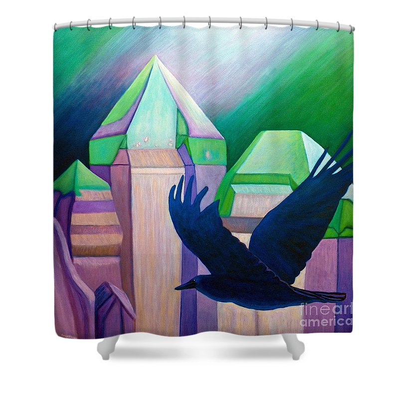 Crystals Shower Curtain featuring the painting Atlantis by Brian Commerford