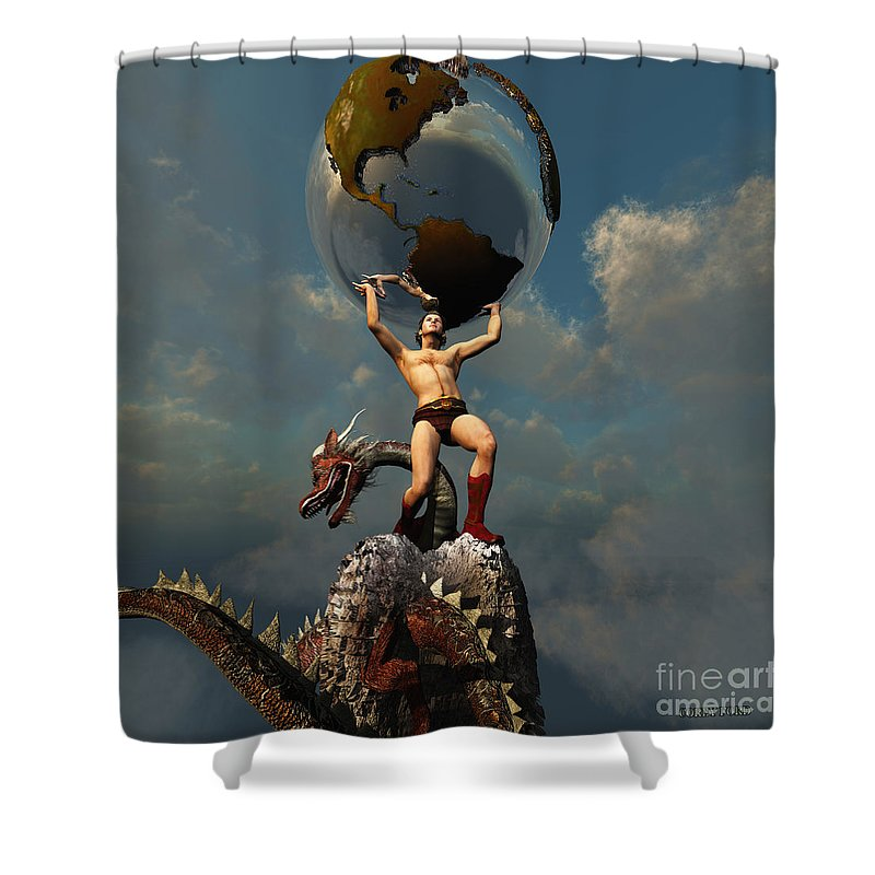 Atlas Shower Curtain Featuring The Painting Titan By Corey Ford