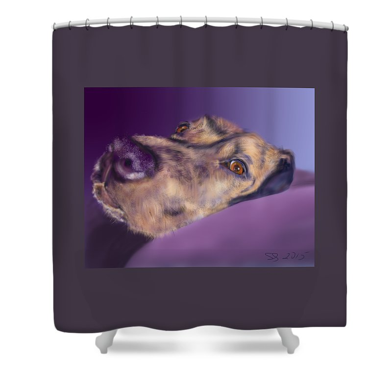 Dog Shower Curtain featuring the painting Atma by Susan Sarabasha