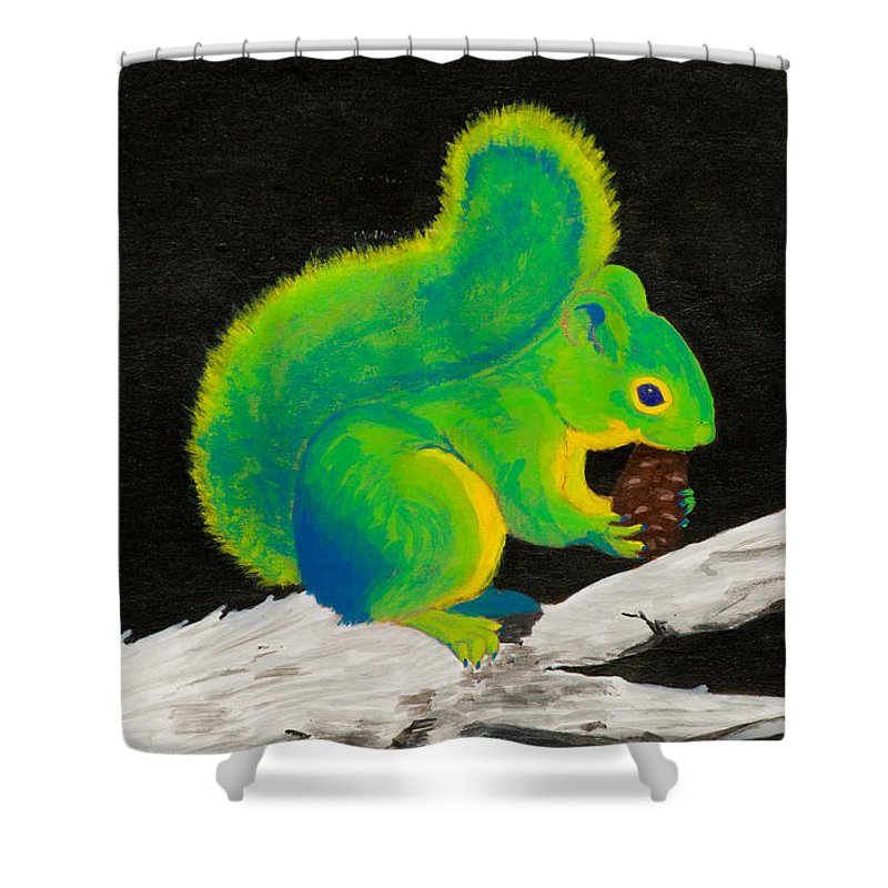 Squirrel Shower Curtain Featuring The Painting Atomic By Stefanie Forck
