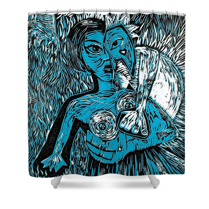 Clay Shower Curtain featuring the painting Attached by Thomas Valentine