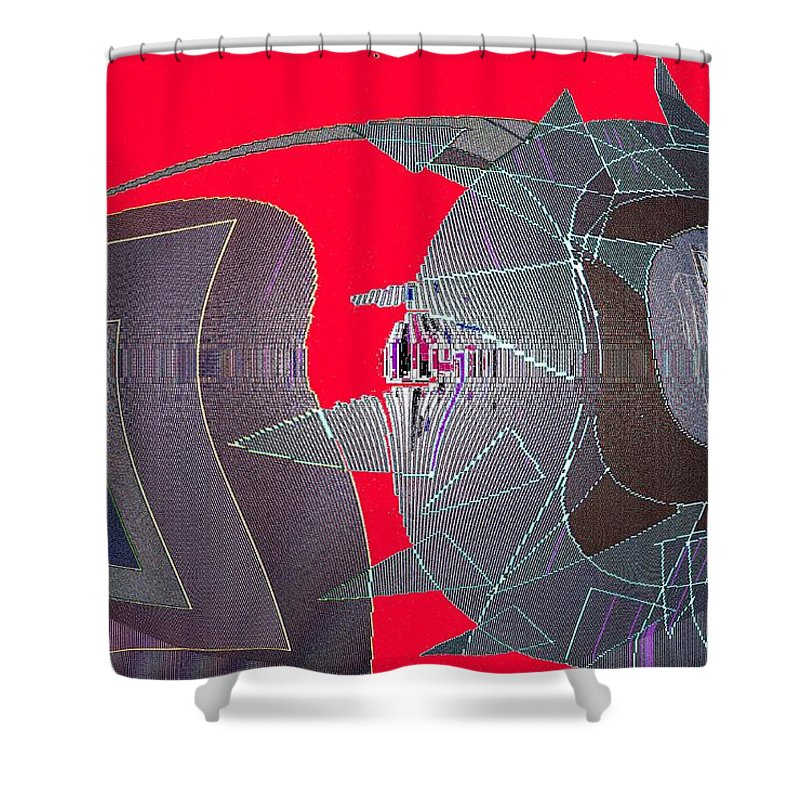 Digital Shower Curtain featuring the digital art Attack by Ian MacDonald