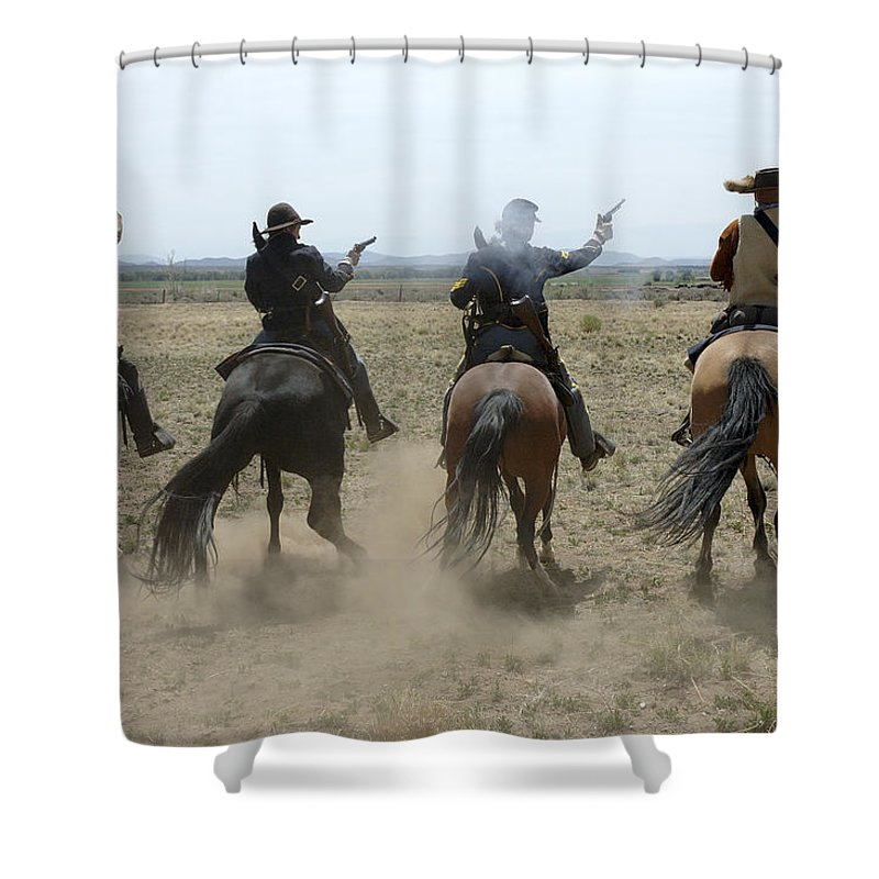 Old West Shower Curtain featuring the photograph Attack by Jerry McElroy