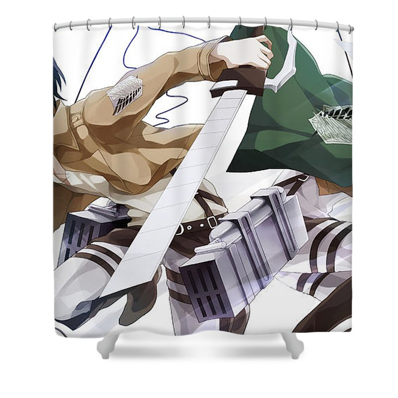 Attack On Titan Shower Curtain featuring the digital art Attack On Titan by Zia Low