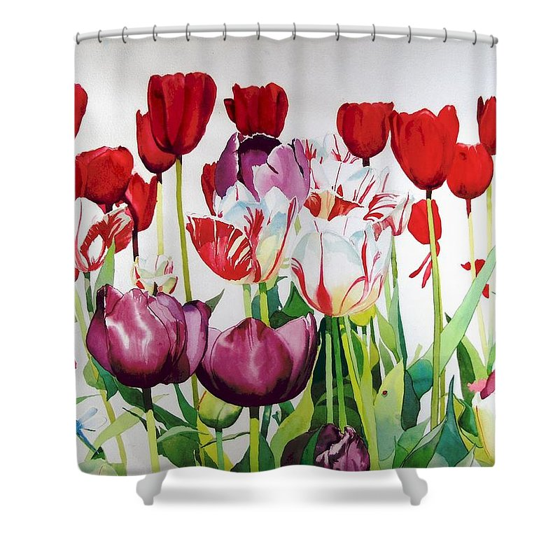Tulips Shower Curtain featuring the painting Attention by Elizabeth Carr