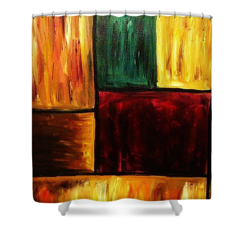 Abstract Shower Curtain featuring the painting Attractive by Yael VanGruber
